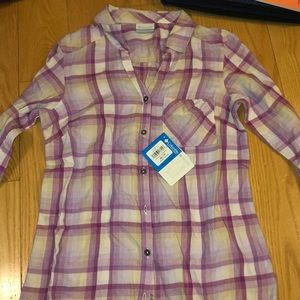 Columbia purple and white flannel xs brand new